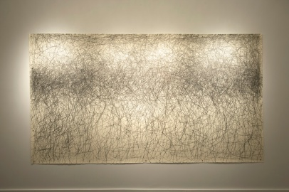William Anastasi. One Hour with Graphite, 2013, from the Resignation Series, 1989/2013. Graphite on paper, transducer, made in situ, 60 x 80 in. Collection of the artist. Photo credit: Louis Chan.