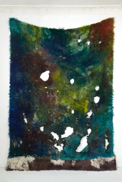 ANNA BETBEZE, LAGOON, 2013  ACID DYES, WATERCOLOR, ASH ON WOOL 126 X 96 INCHES