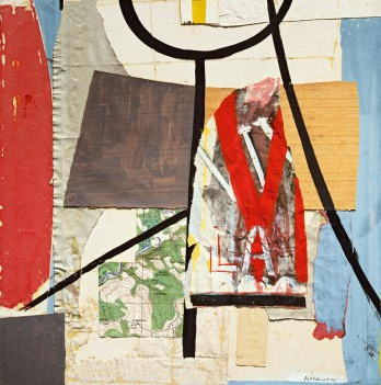 Robert Motherwell, View from a High Tower, 1944–45. Tempera, oil, ink, pastel, and pasted wood veneer, drawing papers, Japanese papers, and printed map on paperboard, 74.3 x 74.3 cm. Private collection © Dedalus Foundation/Licensed by VAGA, New York, NY